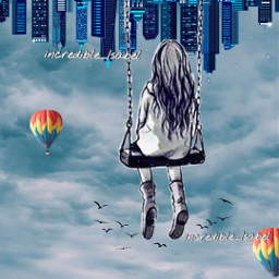 freetoedit surreal upsidedownworld swing girl picsart heypicsart madewithpicsart incredible_isabel adcre