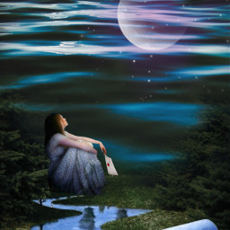 surreal forest river nature moon girl freetoedit