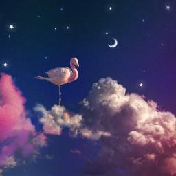 surreal clouds sky moon stars night freetoedit