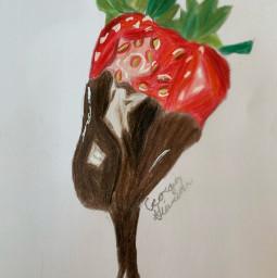 art youngartist strawberrywithchocolate