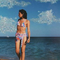 freetoedit beach sky sea summer clouds glitter bikini beachtime beachday picoftheday madewithpicsart aesthetic aestheticedit flowers summervibe travel nature glitters sparkle sun sunshine sunrise swim girl