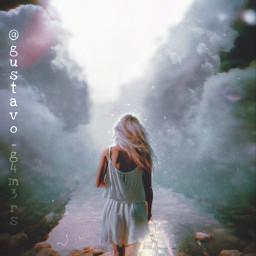 woman blonde pathway imagination lantern walking clouds freetoedit