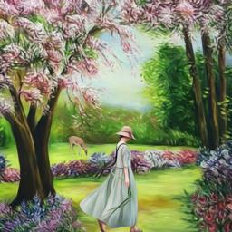landscape scenery garden summer woman walking oilpaintingeffect curvestool heypicsart picsartmaster masteredit myedit madewithpicsart freetoedit