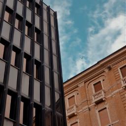 freetoedit oldandnew oldbuilding newbuilding sky