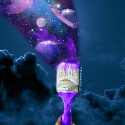 brush freetoedit challenge brushchallenge galaxy paint blue purple sky moon planets space glitter sparkle cloud picsart ircmagicbrush magicbrush