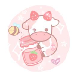 freetoedit interesting art kawaii pinkcow bee cute strawberrycow strawberry stars party people fun
