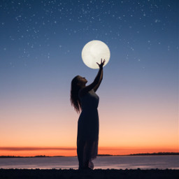 moon girl sunset freetoedit