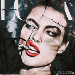 magazine look covergirl smokin smokinghot cigarette redlips brunette barcode tornpaper vintagemagazinecover freetoedit rcmagazinecover magazinecover