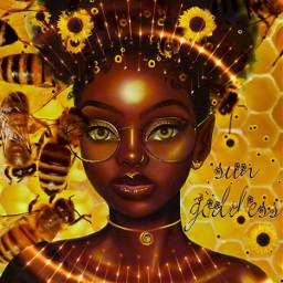 sun sunflower bees honey honeycomb goddess sunrays glasses ambereyes golden yellow darkskin beautful darkbeauty freetoedit srcsunflowersplash sunflowersplash