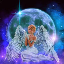 freetoedit galaxy moon girl aesthetic blue purple split water drop stain challenge magic angel picsart eccolorfulsmoke colorfulsmoke