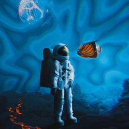 freetoedit fundodomar astronauta planet lava fantasia peixe mar picsart picsartbrasil remixit