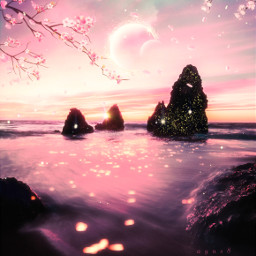 freetoedit metaphor victorhugo quote sentence citation beautiful landscape sea moon sunset sunrise rock cherry cherryblossom cherryblossompetals ocean water light boreallandscape lavieestbelleaussibellequetoi hopeinsidesoul cutation