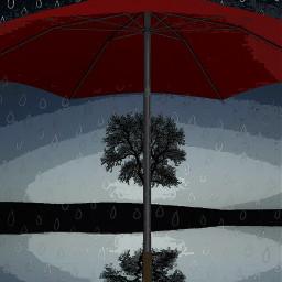 rain umbrella tree lake raindrops surreal comiceffect freetoedit rcdoodleraindrops doodleraindrops