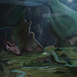myart landscape fantasy rivers skulls dragons nature galaxy