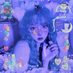 blue navy cute kawaii cyber webcore dream dreamy night goodnight sweet alt girly kiddie babycore y2k neon sanrio carebears littletwinstars clouds agere stars baby japanese freetoedit
