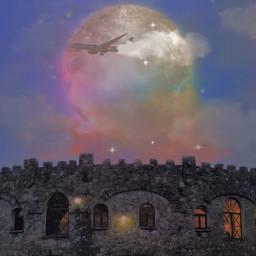 edit replay fotografy old rock castle airplane freetoedit