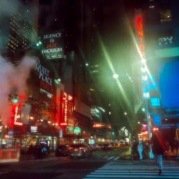 city newyork night street lights haze road fog urban clouds smoke light black blue green red walk aesthetic blur photography background buildings timesquare freetoedit