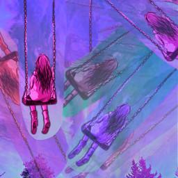 freetoedit collage swinging childhood purple movement