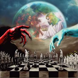 darknessvslight darkvslight goodandevil godweneedyounow chess universe game freetoedit remixed doubleexposure surreal