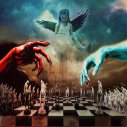 goodvsevil godweneedyounow angel freedom tyranny chess game freetoedit remixed usa world distruction