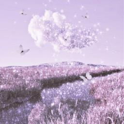 freetoedit pink purple glitter shine sparkle butterfly cloud wallpaper background kawaii cute sweet soft fairycore angelic dream dreamy angelcore landscape aesthetic uwu fairy magic magical