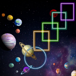 neonsquares challengeoftheday space planets freetoedit picsart ecneonsigns2021 neonsigns2021