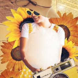 challenge freetoedit retro sunflower camera vintage yellow sun austin beautiful cotoncandy glasses hat dress pretty old picsart irccottoncandy cottoncandy