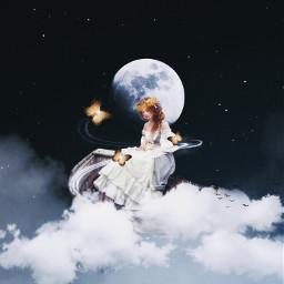 beauty nights sky blue light butterfly magic myedits freetoedit