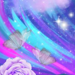freetoedit butterfly butterflies flower flowers pink blue purple glitter glittery sparkle sparkly