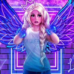 freetoedit elsa frozen modern neon light girl purple blue queen galaxy cafe dark picsart local ecneonsigns2021 neonsigns2021