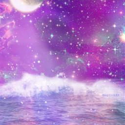 freetoedit glitter sparkle galaxy sky stars moon ocean night purple water waves beach nature landscape colorful cute kawaii aesthetic overlay background replay