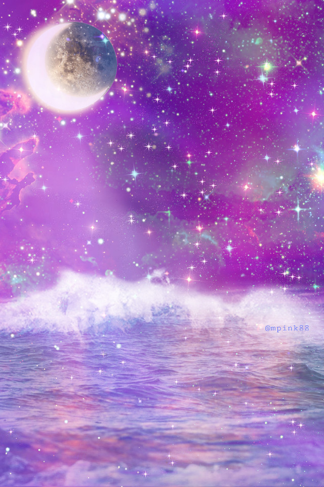 #freetoedit @mpink88 #glitter #sparkle #galaxy #sky #stars #moon #ocean #night #purple #water #waves #beach #nature #landscape #colorful #cute #kawaii #aesthetic #overlay #background #replay
