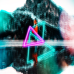 freetoedit nature neon triangle reflection mountain challenge ecneonsigns2021 neonsigns2021