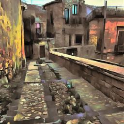 street houses village artistic picture artisticcolor remix freetoedit