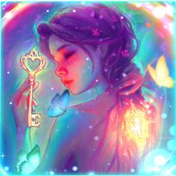 freetoedit neon neonsigns2021 key girl bright mentalhealth mentalhealthawareness butterfly butterflies sparkle shiny glow glowing picsart ecneonsigns2021