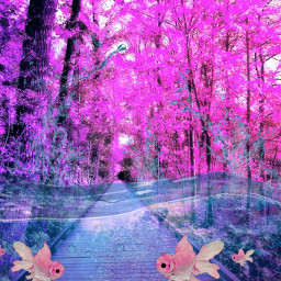 freetoedit pink fantasy underwater fish fishes forrest srcpinkfishies pinkfishies