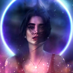 girl lady necklace magic magical light golden neon circle blue black purple beautiful freetoedit picsart ecneonsigns2021 neonsigns2021