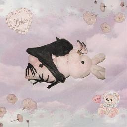 pink aesthetic soft pastel pale grunge bat bunny baby angel angelic angelcore babycore girly cute kawaii sweet animal stuffies stuffedanimal toys agere heaven pastelgoth vintage freetoedit