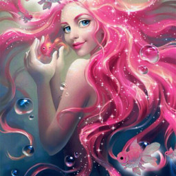 freetoedit mermaid fish fishes underwater glow glowing pinkhair sparkle sparkles pink pinkhairedgirl local srcpinkfishies pinkfishies