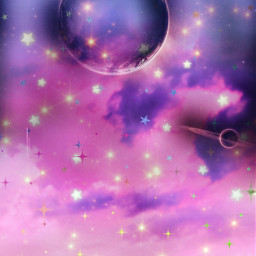 freetoedit glitter sparkle galaxy sky stars space moon planets colorful night clouds nature landscape neon aesthetic overlay background wallpaper