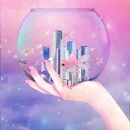 freetoedit challenge fish fishbowl town aesthetic pastel anima hand nail pink blue sky sea modern city girl default srcpinkfishies pinkfishies