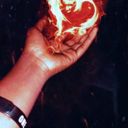freetoedit hand heart fireheart firebackground