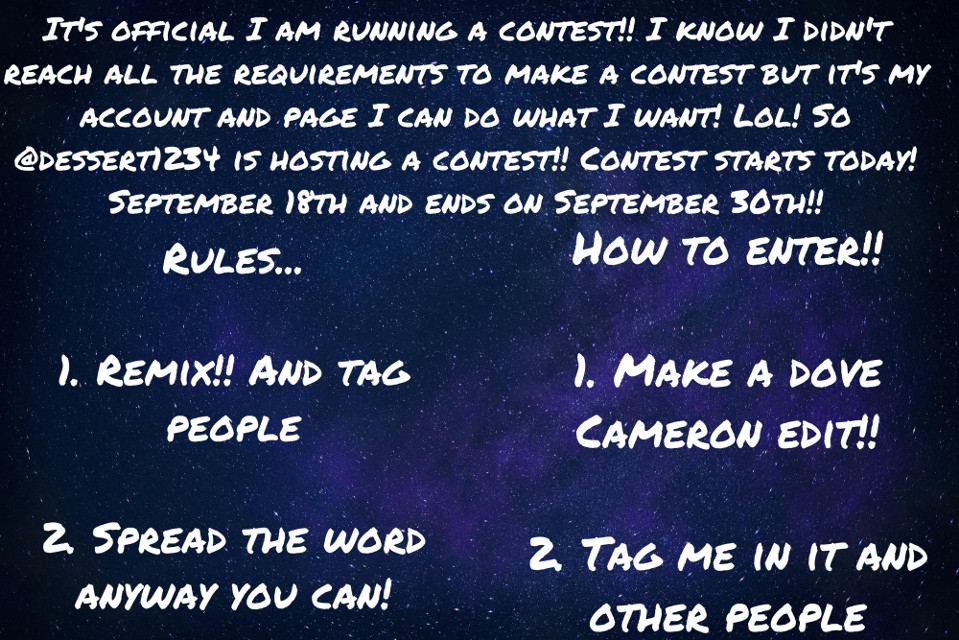 #readallaboutit please read all!! Oh here are the prizes!! 3rd place gets a free bio 2nd place gets 2 profile pics! Of there choice and 1st place gets 3 or more watermarks and a bio and profile pics Taglist ssstellerz ⭐️ @douxierose 🐍 @ @bxby_bxbba✨ @emma092112 💐 @bananarepublic574 🦋 @gc5_394hp  @awhpixie- @descendants_freak 💜 @demilovatobiggestfan ❤️ @tinaaadc🧸 @sjlmollie23 💖 @randommfandom 🪐🙈   @itzlaylz 🖤 @-grandamelio☔️🌊🥥 @dxrlingxholland- 🖇️🕊️🏹 @marvel-_- 🧸🔒❤️ @taehyung-is-my-bf 🌻 @grandexlcve🎀 @booksmione ☁️🕊🤍 @artlovers89🌹🥐🍷 @grcndqxxedits 🤍☁️🍀✨ @Alexaqueen_215 👑😺💙 @pic_smile ❤️🧡💛💚💙💜 @lilacelle @stqrlcvee 🍡🧸🎀 @mic_07 🗝💖 @princessnayeli @demilovatobiggestfan ❤️🌸🎉✨👑 @arixgrxndexxx @venessa1024 @tropicalivie  @glcwingmolly  @gunes_1 🐥💖  @stqrlcvee-helps @unsaid_siennah ❤️🔥🎸 @lovelygirl_23 @riverdalefanpage2021 @_grandexaddiandliv_ @clxdy_aesthetic @booksmione @dove017 @queen_blossom @diamondly_ @april_dibrina @lilacelle @glqssystqrs 🌐🌷 @picartedits747 @fariellie @descendants_freak ❤️🐉✨ @sunsnowmountain 🍄 @emma092112 @beachystarss @beachy_-_ aesthetic  @dontwastethemoon @mrsorriso1747 😀🖐️👍 @claudyiris @llsugxrcxndyll 🎀 @0ddfutxres @diorventi @babyuranangel @skinny_dipping @prfct_3 @diorkxsses-  @dior-helps  @stell_the_fangirl  @twilightxhungergames Dove Cameron Fandom group/taglist!!👑❤️  Made by me @dessert1234 @descendants_freak 😂✨❤️ @heavenly_mel 🌱🧸💟 @lovelygirl_23 💋🤍 @booksmione 🌹👑❤ @dove017  💜🥰👸 @-altsqlt- 👑✨🐉 @crybqbyxxx @-grandamelio 👑👑👑 @@bxby_bxbba✨🤍😁  @gc5_394hp ✨💜🌷 @riverdalefanpage2021       🤪💗💕 @pic_smile  🥰👸😀 Dove Cameron song/favourite songs taglist!! If only🥺💖- @unsaid_siennah LazyBaby- @demilovatobiggestfan My Once upon a time- @queen_blossom Taste of you 😍❤️🥰- @pic_smile V1CT0R10US C4ST 💍 @dessert1234 // dessert lover // Tori @livscomplexedits // liv // Jade  @awhpixie // soph // Cat @bxby_bxbba // Taylor // Trina Ibbfs: @lovelygirl_23 @ awhpixie- @demilovatobiggestfan ❤️🌸🎉✨👑 @arixgrxndexxx @-grandamelio☔️🌊🥥 @clxdy_aesthetic ✨ @descendants_freak 