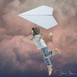 freetoedit boy playing flying paperfly paperflying surreal surrealart surrealism sky pilot ircpaperplane paperplane
