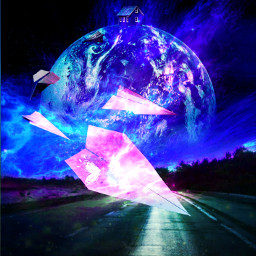 galaxy moon paperplane house home star earthb airplane white purple pink blue street jungle forest freetoedit picsart ircpaperplane