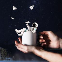 freetoedit astronaut space stars nature plane paperplane coffeecup hands challenge ircpaperplane