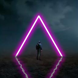 man neon light sky triangle beautiful freetoedit picsart unsplash ecneonsigns2021 neonsigns2021