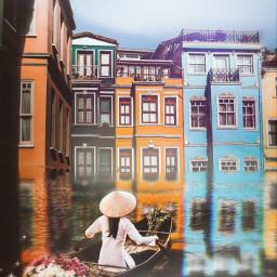 boat woman mist build water reflection freetoedit