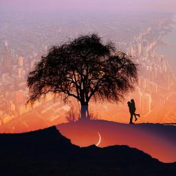 remixed love couple sunset scenic freetoedit