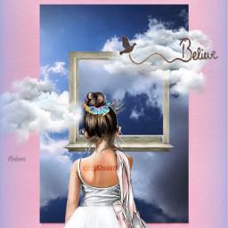 fantasy imagination surreal surrealart aesthetic aestheticedit editedbyme girl littlegirl looking sky window stickerremix art freetoedit